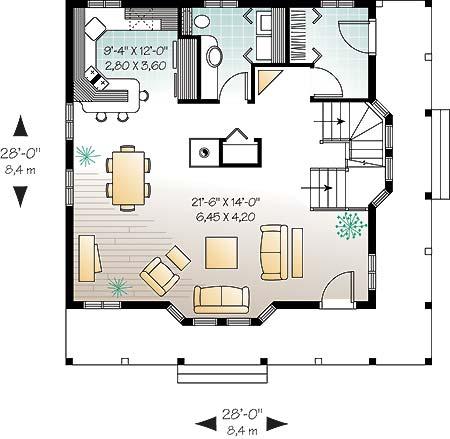 План 1 этажа План одноэтажного дома с мансардой 8 на 8 с подвалом и угловой верандой