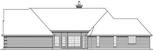 Вид справа Проект красивого одноэтажного каркасного дома с кирпичным фасадом для узкого участка