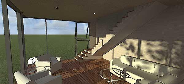 Дизайн гостиной с лестницей и большими окнами в современном доме