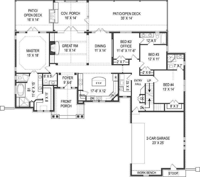 Интересный проект двухэтажного каркасного дома площадью до 250 кв.м с гаражом на 2 машины и с 4 спальнями подходит для строительства дома с цокольным этажом на склоне. В большой спальне есть ванная. Также сзади дома пристроена веранда..
