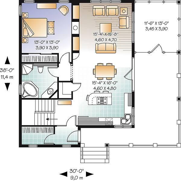 Этот симпатичный проект одноэтажного дома в дачном стиле 9 на 11 метров площадью  до 100 кв.м с одной спальней подходит  для дачи и  строительства дома с цокольным этажом на участке с уклоном и  для строительства дома с цокольным этажом на склоне . Также перед домом есть веранда..