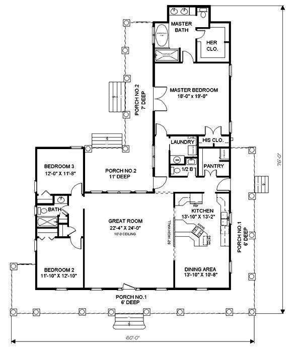 План 1 этажа План 1-этажного дома Г-образной формы с большими верандами