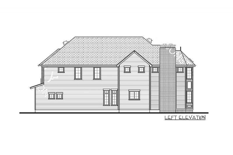 Проект двухэтажного каркасного дома в английском стиле с эркером площадью  до 250 кв.м с гаражом на 2 машины и с 3 спальнями подходит для строительства на узком участке.