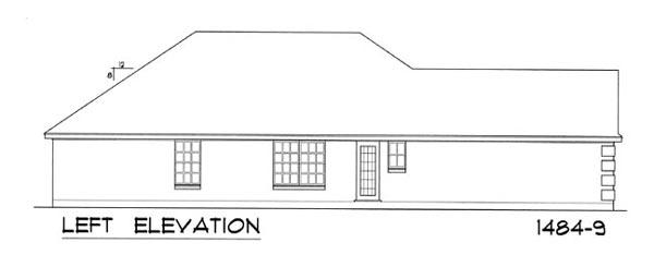 Вид слева Проект одноэтажного дома для узкого участка с обособленной гостиной