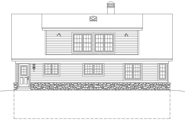 Вид сзади Проект дома в стиле шале с цокольным этажом и панорамным окном