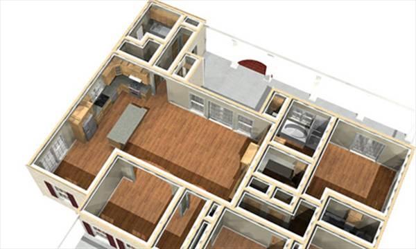 3D план 1 этажа План 1-этажного дома с 3D планами