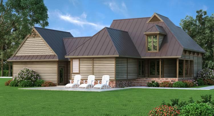 Вид сзади Проект красивого дома в стиле кантри с 4 спальнями и гаражом