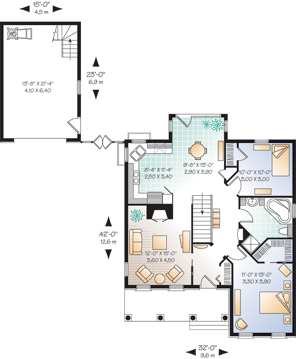 Plan DR-70721: One-story 2 Bedroom European House Plan For ... on house layout, colonial house plans, house blueprints, duplex house plans, mediterranean house plans, 2 story house plans, modern house plans, craftsman house plans, residential house plans, house design, house schematics, big luxury house plans, bungalow house plans, simple house plans, country house plans, house exterior, luxury home plans, house site plan, small house plans, traditional house plans,