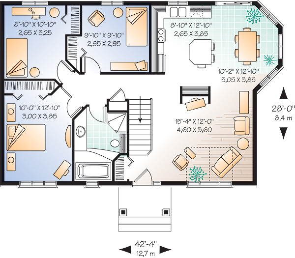 Этот удобный проект одноэтажного дома в европейском стиле 12 на 8 метров площадью  до 150 кв.м с 3 спальнями подходит для постоянного проживания. Также перед домом есть веранда..