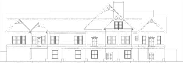 Вид сзади Проект одноэтажного дома в стиле кантри с цокольным этажом и 5-6 спальнями
