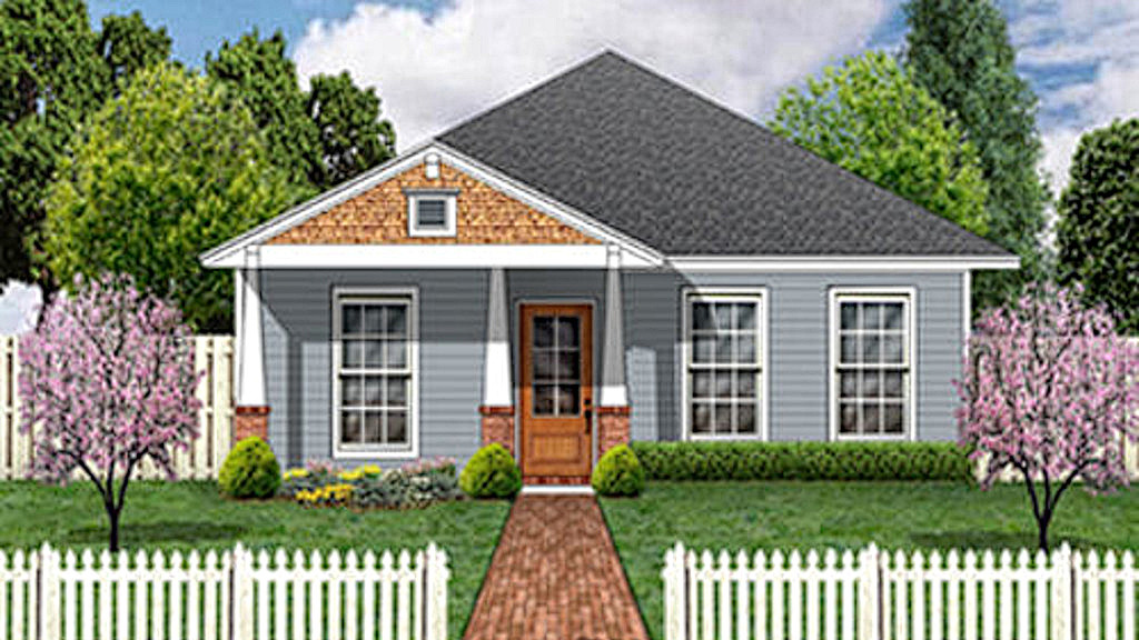 Plan HP-84447-1-3: One-story 3 Bed House Plan For Narrow Lot on colonial home plans with front porch, rustic house plans with front porch, colonial house plans with front porch, country house plans with front porch, craftsman home plans with front porch, saltbox house plans with front porch, southern house plans with front porch, craftsman house plans with front porch, garage plans with front porch,