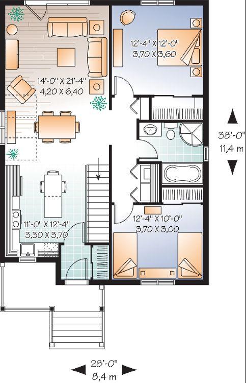 Интересный проект одноэтажного дома в дачном стиле 8 на 11 метров площадью  до 100 кв.м с 2 спальнями подходит  для дачи . Также перед домом есть веранда..