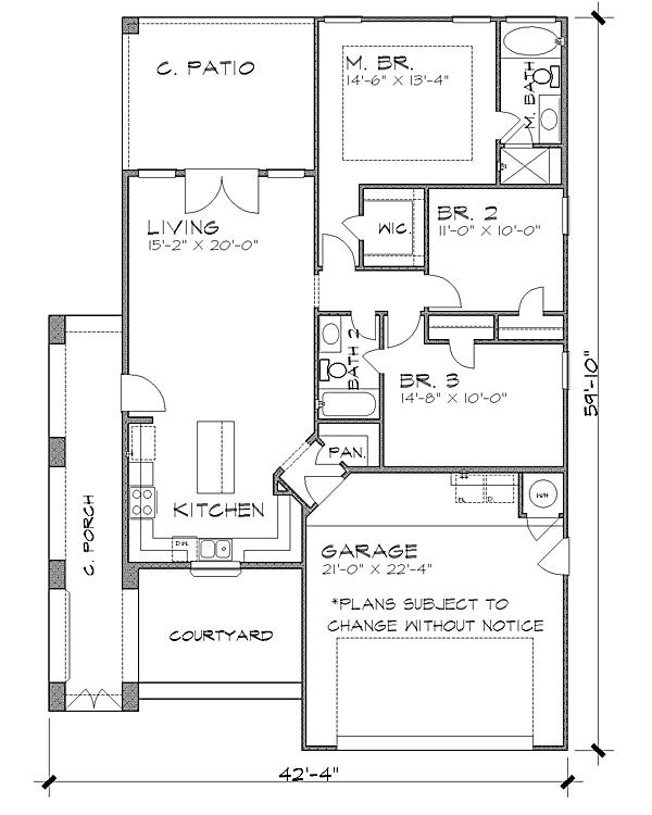 Популярный проект одноэтажного дома в средиземноморском стиле 12 на  площадью  до 150 кв.м с гаражом на 2 машины и с 3 спальнями подходит для постоянного проживания. В большой спальне есть ванная.