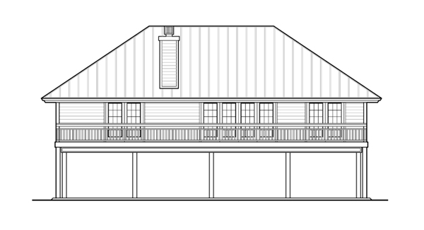 Вид сзади Проект одноэтажного каркасного дома на сваях с двумя террасами