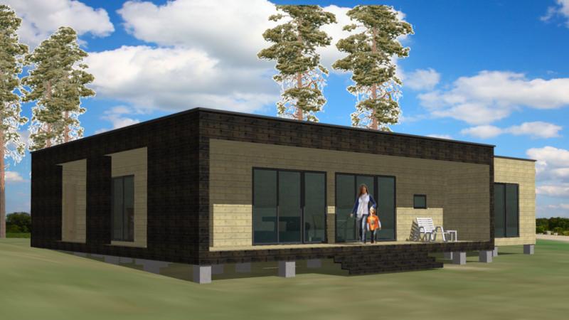 Популярный проект одноэтажного дома в современном стиле12 метров площадью  до 150 кв.м с 4 спальнями подходит для постоянного проживания. В большой спальне есть ванная и гардеробная комната. В проекте дома есть терраса..
