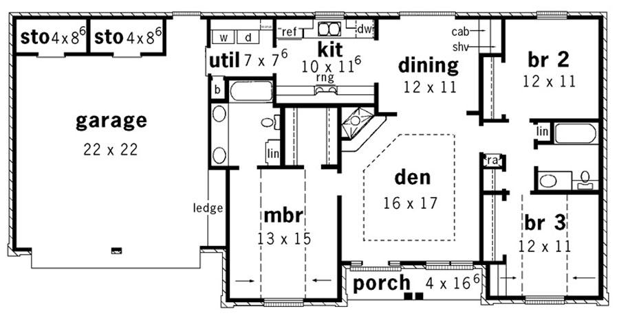 Этот удобный проект одноэтажного дома 10 метров площадью  до 150 кв.м с гаражом на 2 машины и с 3 спальнями подходит для постоянного проживания. Также перед домом есть веранда..
