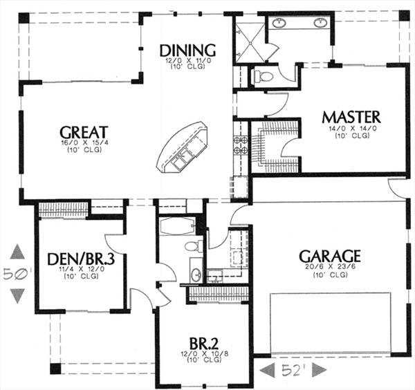 Этот привлекательный проект одноэтажного дома в средиземноморском стиле площадью  до 150 кв.м с гаражом на 2 машины и с 3 спальнями подходит для постоянного проживания.
