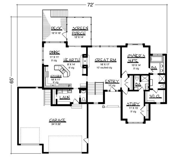 План 1 этажа План 1-этажного дома  160 кв м
