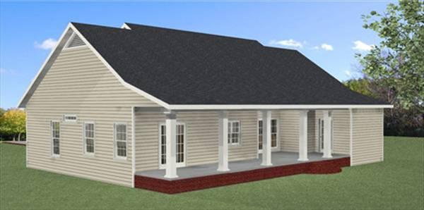 Вид сзади План 1-этажного дома с 3D планами