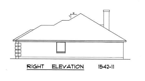 Вид справа План 1-этажного дома 15x15 с кирпичным фасадом