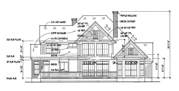 Вид сзади Проект дома г-образной формы с мансардой, верандами и гаражом