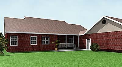 Вид сзади Проект одноэтажного каркасного дома с пристроенным гаражом KD-5708-1-3