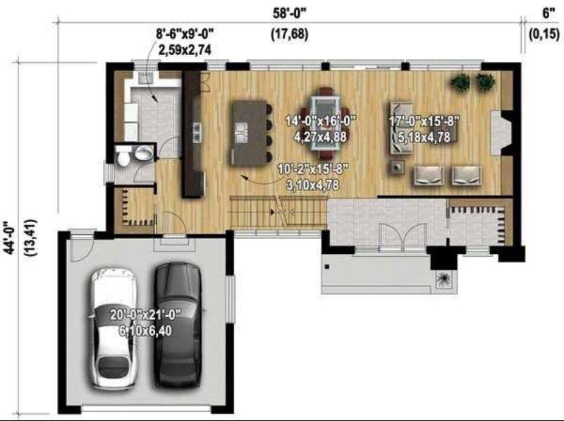Этот популярный проект двухэтажного каркасного дома в современном стиле площадью 254 кв.м с гаражом на 2 машины и с 4 спальнями подходит для постоянного проживания.