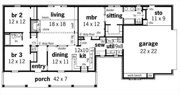 План 1 этажа План 1-этажного дома 23x11 149 кв м