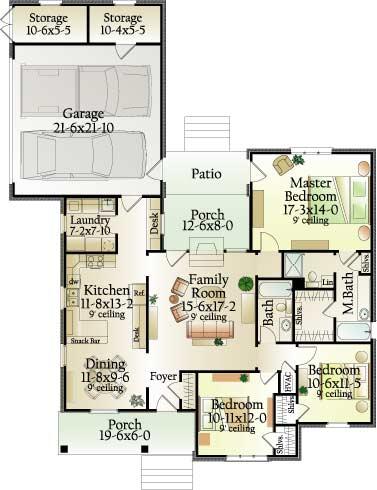 План 1 этажа Проект одноэтажного дома П-образной формы с верандами