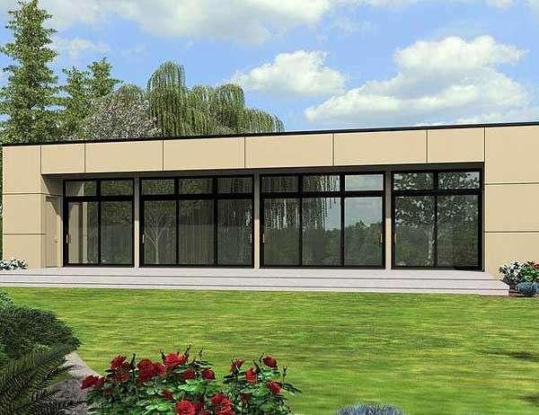 Этот популярный проект одноэтажного дома в современном стиле площадью  до 200 кв.м с гаражом на 2 машины и с 3 спальнями подходит для постоянного проживания.