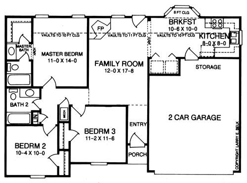 Этот популярный проект одноэтажного дома в американском стиле10 метров площадью  до 150 кв.м с гаражом на 2 машины и с 3 спальнями подходит для постоянного проживания. Также перед домом есть веранда..