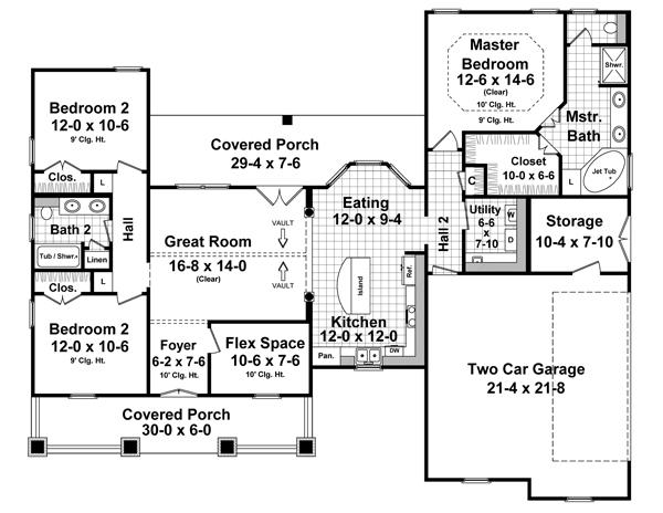This French countryside house facade has and faced with brick, horizontal siding. completes the look of this house. House plan is 63 feet wide by 52 feet deep and provides 1634 square feet of living space in addition to a two-car garage with a workshop Space includes Foyer, with a walk-in closet, a Family Room, with a fireplace, a Dining Room, a Kitchen, with a walk-in pantry, with a peninsula eating, with a walk-in closet, with a walk-in closet, utility room, half bathroom, a storage room, all bedrooms are up on the second floor. An open layout maximizes the use of the living space.