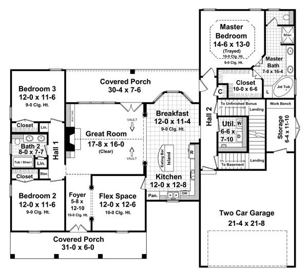 Замечательный проект одноэтажного дома в стиле прованс площадью  до 200 кв.м с гаражом на 2 машины и с 3 спальнями подходит для постоянного проживания. В большой спальне есть ванная. Также перед домом есть веранда..