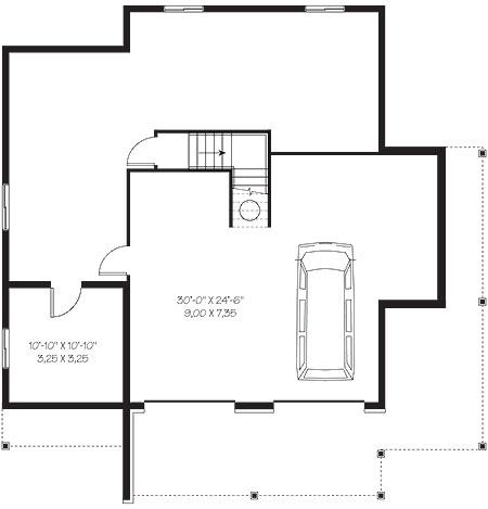 План цокольного этажа Проект каркасного дома KD-4648-3-3 в трех уровнях