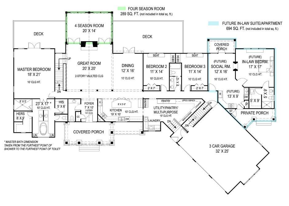 План 1 этажа Проект одноэтажного дома в стиле кантри с цокольным этажом и 5-6 спальнями