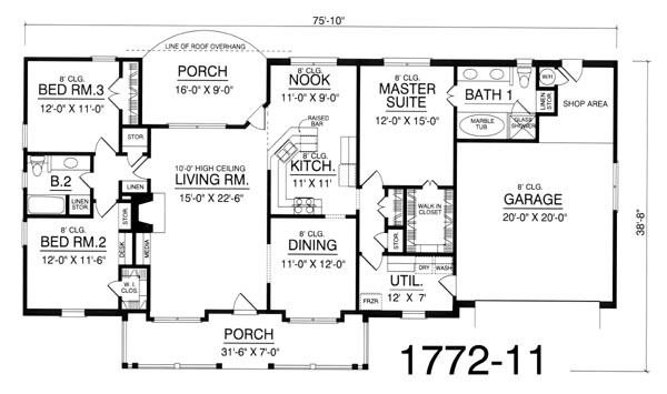 План 1 этажа План 1-этажного дома 23x12 165 кв м