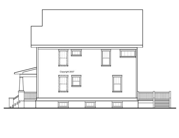 Вид справа Проект двухэтажного каркасного дома с подвалом, верандой и кабинетом