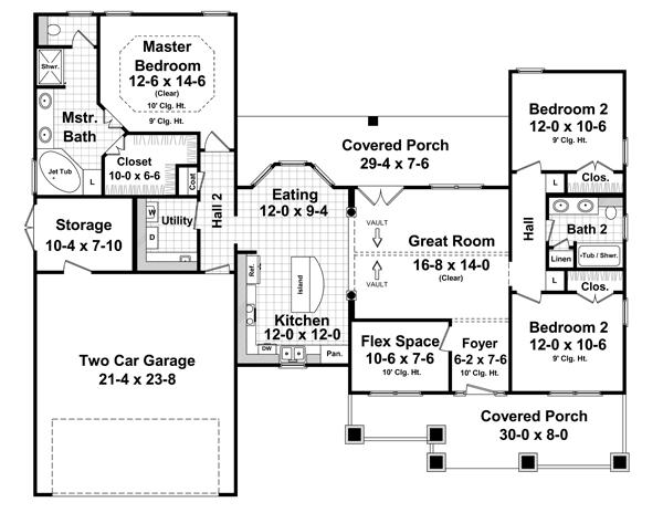 План 1 этажа План 1-этажного дома в американском стиле до 150 кв.м с гаражом