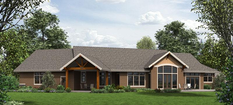 Интересный проект одноэтажного дома в американском стиле площадью 270 кв.м с большим гаражом и с 3 спальнями подходит для постоянного проживания. Также перед домом есть веранда..