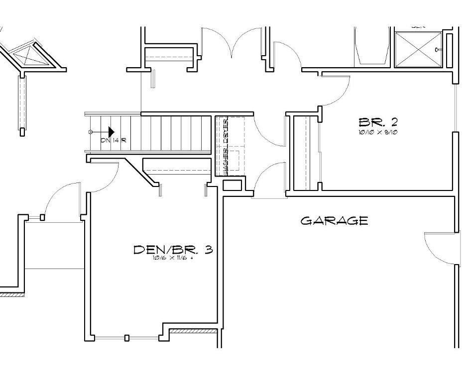 Вариант расположения лестницы в подвал План 1-этажного дома AM-2410-1-3 в американском стиле 157 кв м