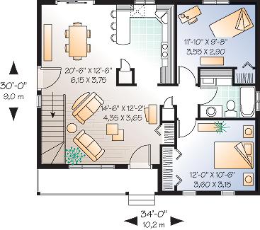Этот проект одноэтажного дома в финском стиле площадью  до 100 кв.м с гаражом и с 2 спальнями подходит для постоянного проживания.
