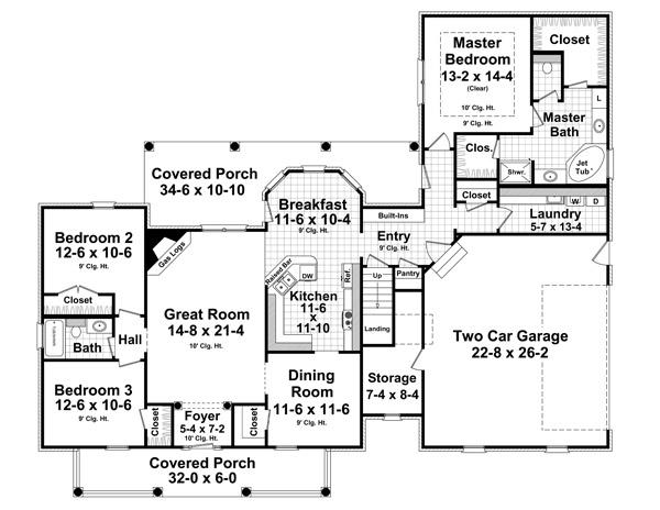 Этот прекрасный проект одноэтажного дома в стиле прованс площадью  до 200 кв.м с гаражом на 2 машины и с 3 спальнями подходит для постоянного проживания. Также перед домом есть веранда..