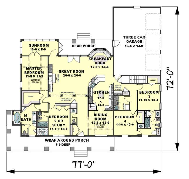 План 1 этажа План 1-этажного дома с большой верандой с коническими колоннами