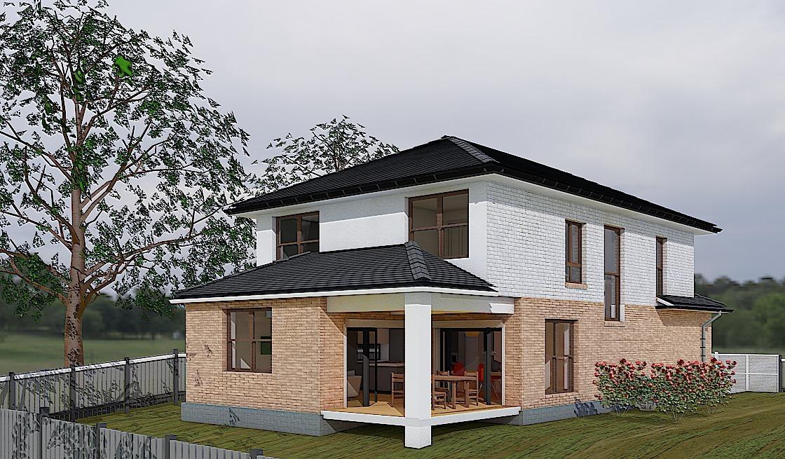 Проект двухэтажного дома Коралл - вид сзади