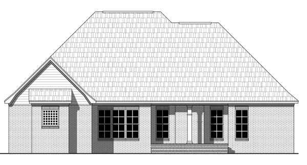 Этот удобный проект одноэтажного каркасного дома площадью  до 200 кв.м с гаражом на 2 машины, 3 спальнями и большой гостиной. Стены кирпичные. Крыша вальмовая.