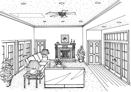 Удобный дом План 1-этажного дома с кабинетом около спальни