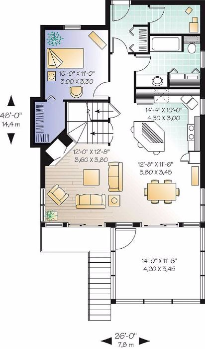 Популярный проект одноэтажного дома с мансардой в дачном стиле 7 на 11 метров площадью  до 150 кв.м с 3 спальнями подходит  для дачи . Также перед домом есть веранда..
