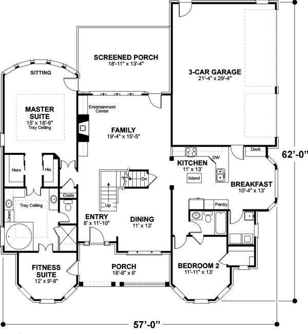 План 1 этажа Двухэтажный дом с двумя эркерами KD-6247-2-4