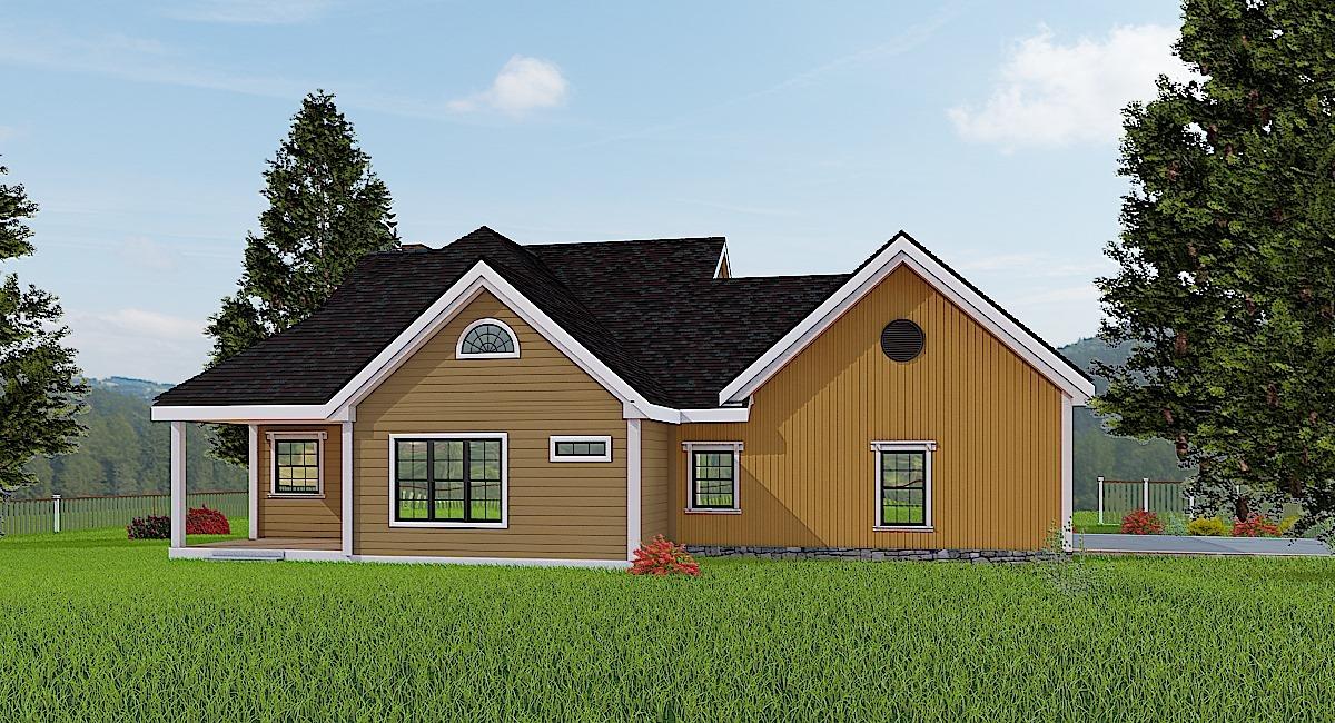Проект одноэтажного дома  в скандинавском стиле площадью до 200 квадратных метра с 3 спальнями подходит для сельской местности, фермы или пригорода. Просторная планировка, включает общие открытые комнаты и множество мест для хранения. Спереди и сзади дома красивые красивые крытые террасы.