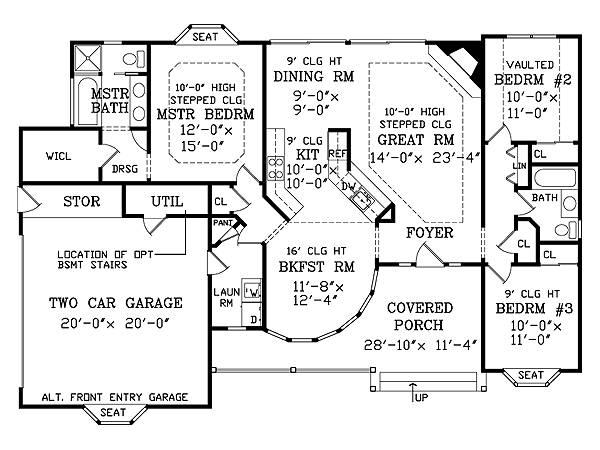 Интересный проект одноэтажного дома в английском стиле площадью  до 150 кв.м с гаражом на 2 машины и с 3 спальнями подходит   для строительства дома с цокольным этажом на склоне .